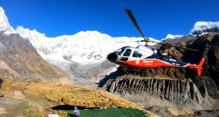 Heli Trying to Take off in Annapurna Base Camp 169