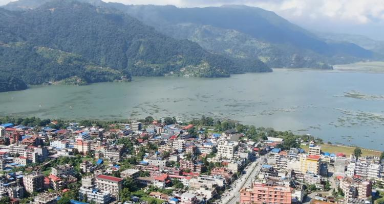 Fewa Lake and Pokhara view from Heli 170