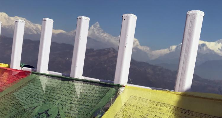 Mountain Range and Prayer Flags from Stupa 133