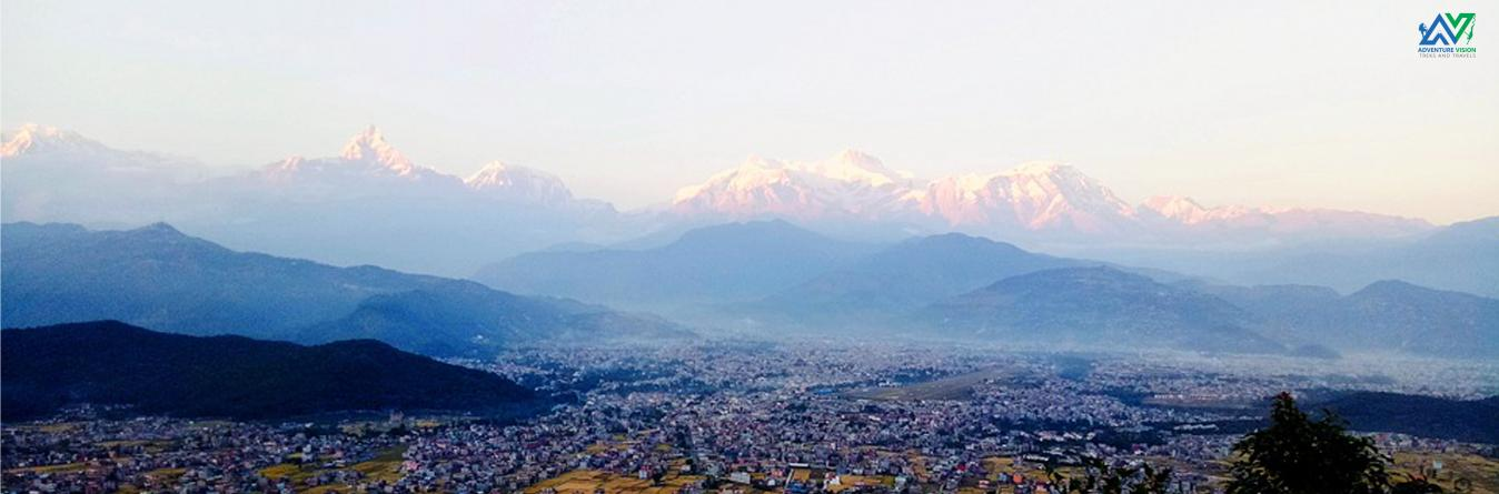 Pokhara city with Himalayan Background