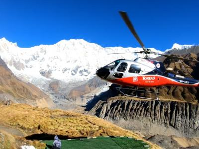 Heli Trying to Take off in Annapurna Base Camp