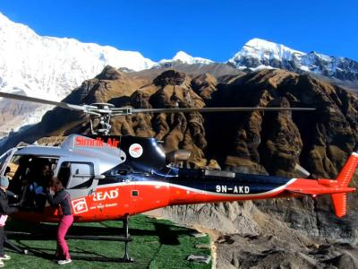 Helicopter in Annapurna base camp